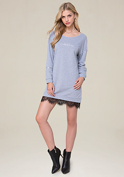 bebe Heathered Popover Dress