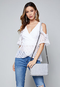 bebe Lace Cold Shoulder Wrap Top