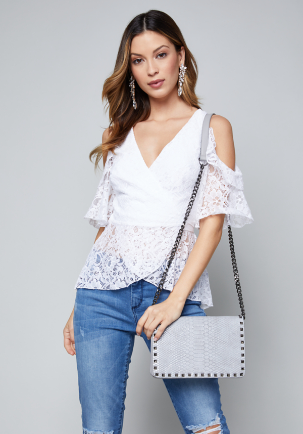 Lace Cold Shoulder Wrap Top at bebe in Sherman Oaks, CA | Tuggl