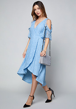 Bebe blue lace one shoulder dress