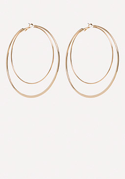 bebe Metal Double Hoop Earrings