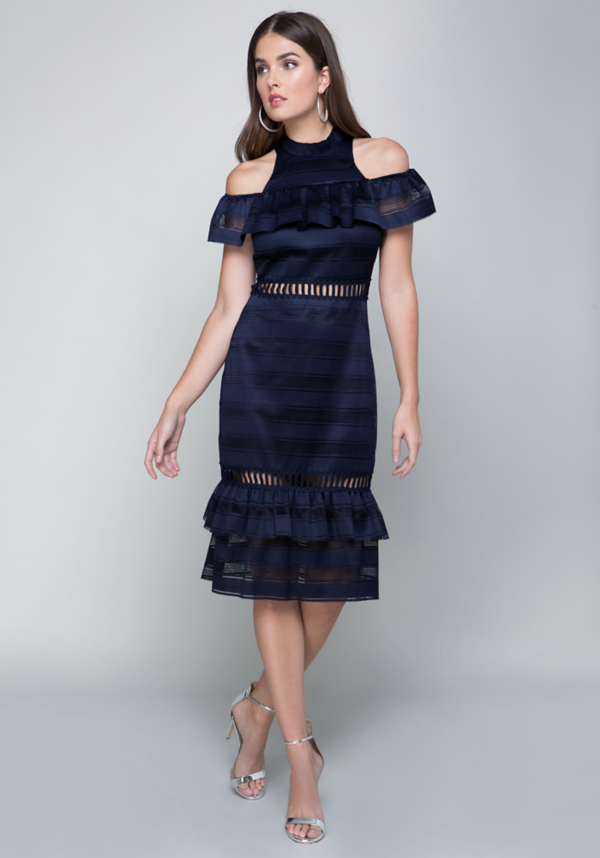 Layne Tiered Ruffle Dress at bebe in Sherman Oaks, CA | Tuggl