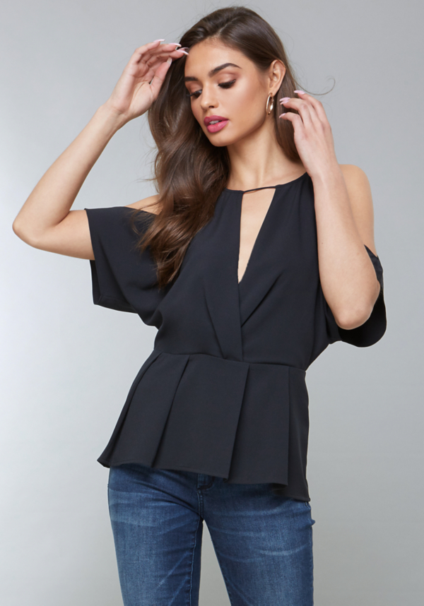 Pleated Cold Shoulder Top at bebe in Sherman Oaks, CA | Tuggl
