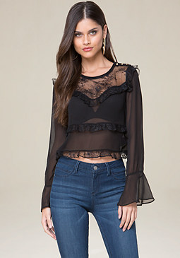 bebe Tiered Ruffle Top