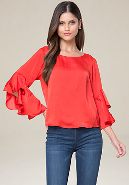 bebe Tiered Ruffle Sleeve Top