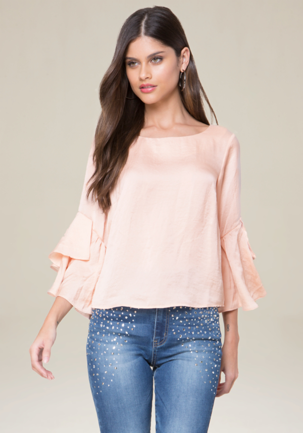 Tiered Ruffle Sleeve Top at bebe in Sherman Oaks, CA | Tuggl