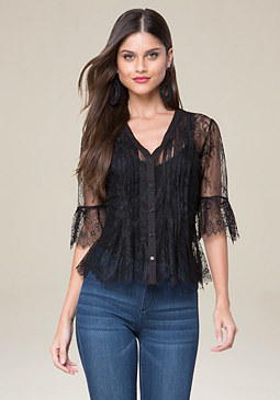 bebe Lace Button Front Top