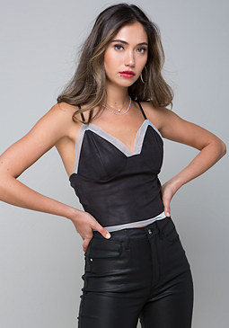 bebe Mesh Trim Crop Top