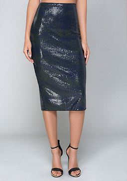 bebe Print Sequin Skirt