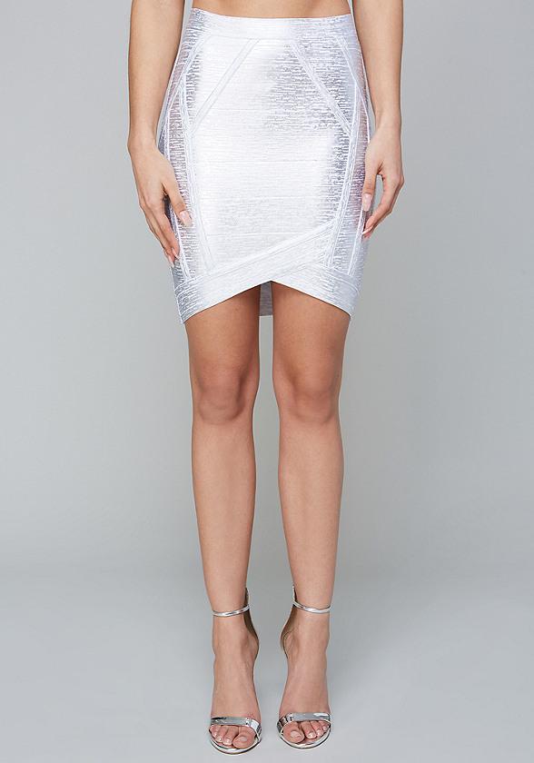 Foiled Bandage Skirt