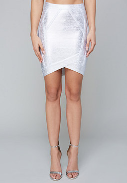 bebe Foiled Bandage Skirt