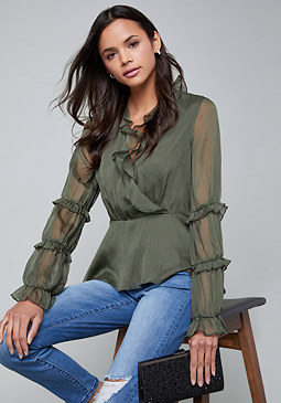 bebe Ruffled Blouse