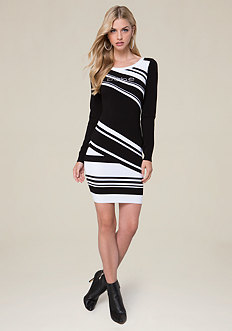 Logo Striped Sweater Dress