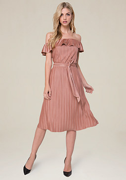 bebe Pleated Faux Suede Dress