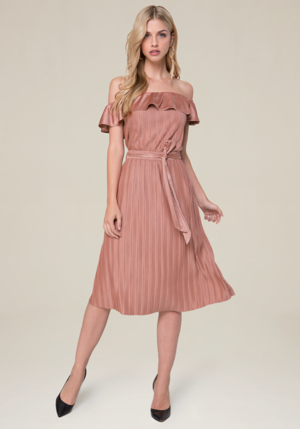 Pleated Faux Suede Dress at bebe in Sherman Oaks, CA | Tuggl
