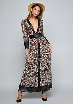 bebe Faux Leather Trim Maxi Dress