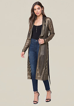 bebe Gold Striped Robe