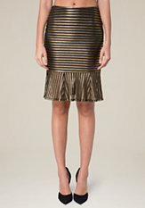 bebe Gold Stripe Mermaid Skirt
