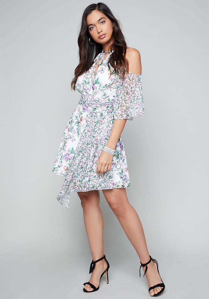 Print Tie Neck Dress by Bebe