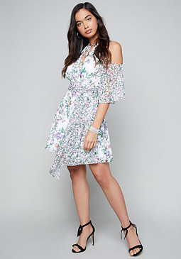 bebe Print Tie Neck Dress