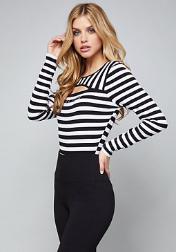 bebe Logo Striped Top