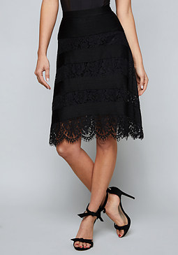 bebe Dallas Stripe & Lace Skirt