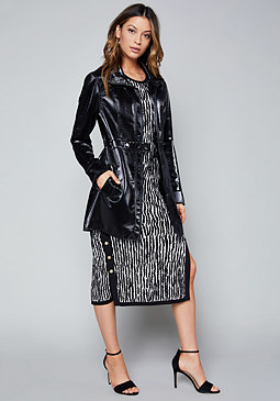 bebe Leyla Textured Trench Coat