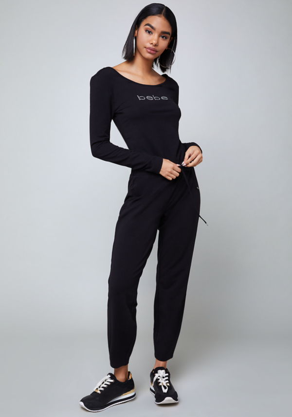 Logo Drawstring Jumpsuit at bebe in Sherman Oaks, CA | Tuggl