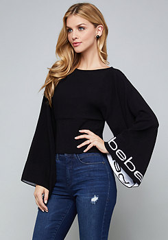 bebe Logo Wide Sleeve Sweater