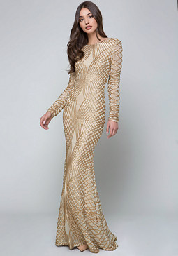 bebe Sequin Open Back Gown