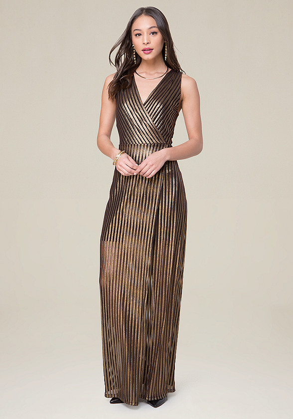 Gold Stripe Maxi Dress