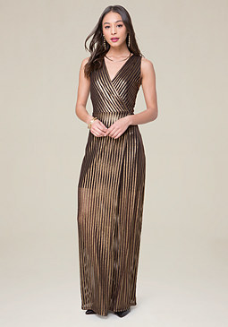 bebe Gold Stripe Maxi Dress
