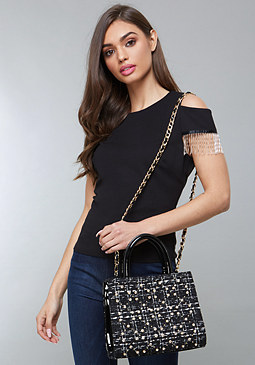 bebe Beaded Fringe Top