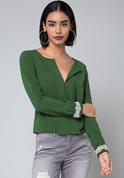 bebe Embellished Cuff Top