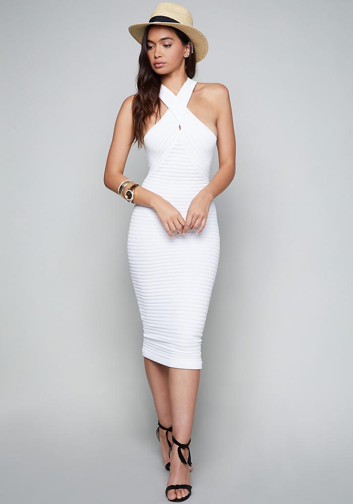 Bandage bodycon dress white