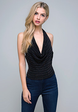 bebe Glittering Cowl Neck Top