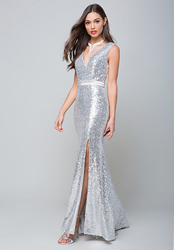 bebe Sequin Mermaid Gown