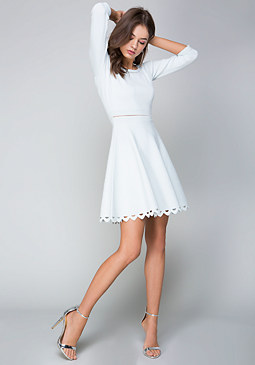 bebe 3/4 Sleeve Flared Dress