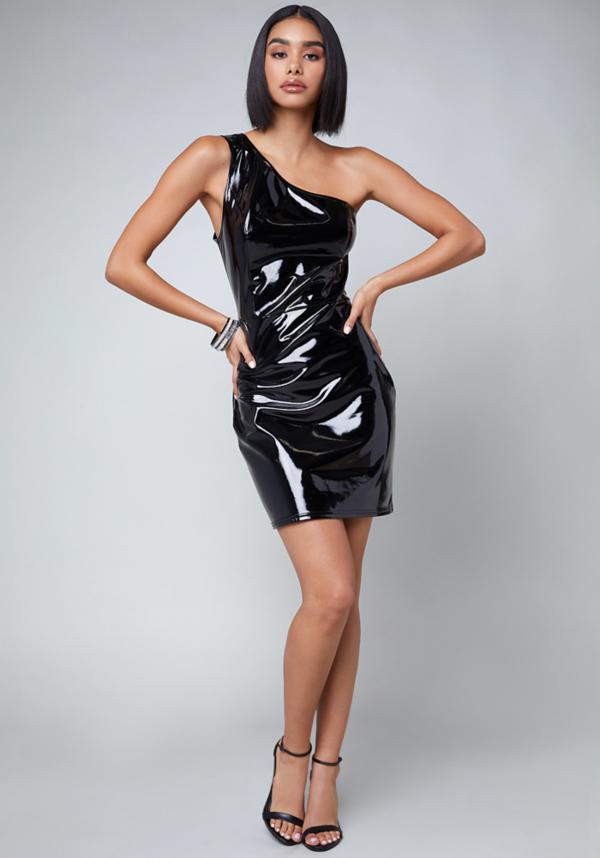 Patent One Shoulder Dress at bebe in Sherman Oaks, CA | Tuggl