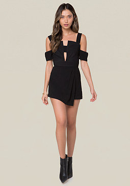 bebe Off Shoulder Plunge Romper