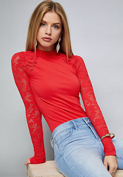 bebe Lace Sleeve Bodysuit