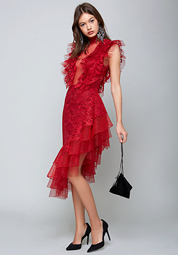 bebe Layered Lace & Tulle Dress