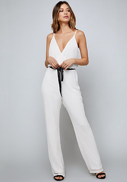 bebe Bead Striped Jumpsuit