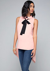 bebe Ribbon Tie Neck Top