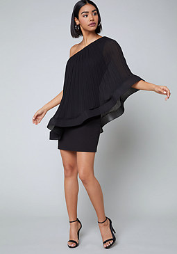 bebe Pleated Overlay Dress