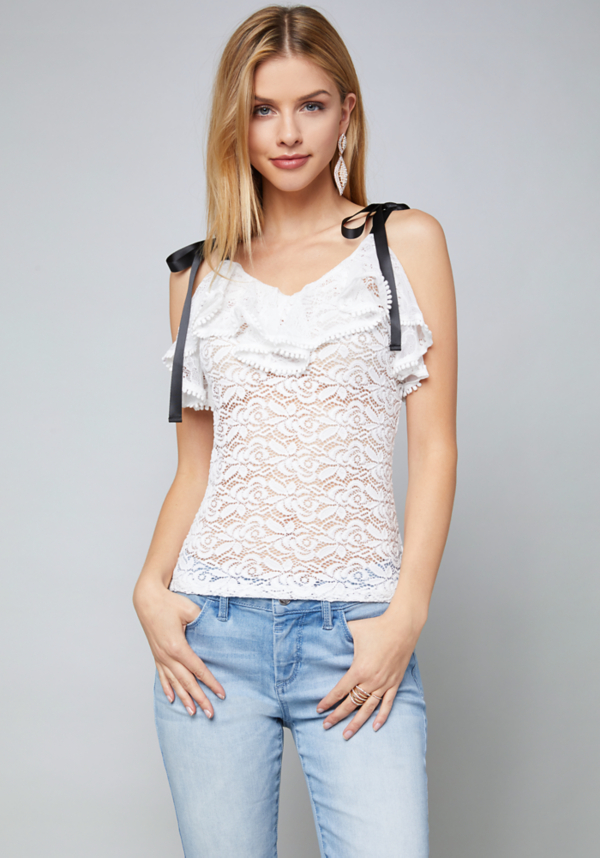Angela Lace Top at bebe in Sherman Oaks, CA | Tuggl