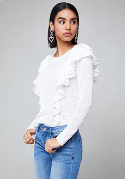 bebe Shally Ruffled Top