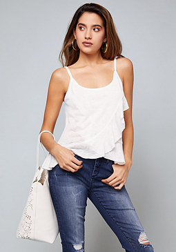 bebe Slub Knit Ruffle Wrap Top