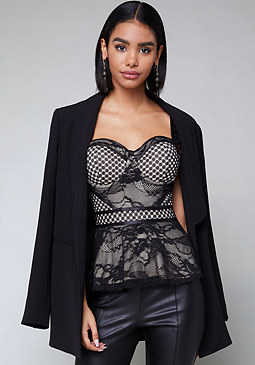 bebe Mix Lace Bustier Top