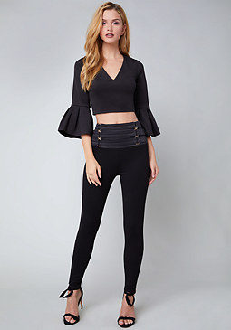 bebe Scuba Flutter Crop Top
